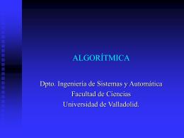 algorítmica - Departamento de Ingeniería de Sistemas y Automática