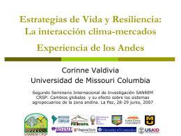 Estrategias de Vida y Resiliencia: La interacción clima
