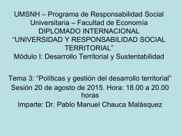 Desarrollo territorial: enfoques, procesos y actores