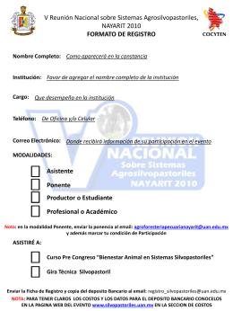 Ficha de Registro - V Reunion Nacional sobre Sistemas
