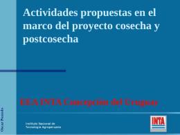 Actividades Propuestas en el Marco del Proyecto Cosecha y