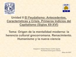 la herencia cultural grecorromana. Renacimiento. Humanismo y la