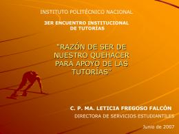 Diapositiva 1 - Programa Institucional de Tutorias del IPN
