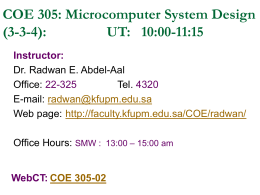 COE 308: Computer Architecture (T032) Dr. Marwan Abu