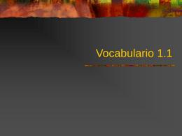 Vocabulario 1.1