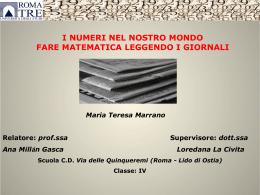 Maria Teresa Marrano, I numeri nel nostro mondo
