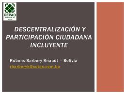 Descentralización y Paticipación Ciudadana Incluyente