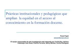 """""""Indicadores de equidad en el acceso al conocimiento en los"""