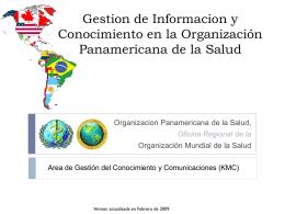 La Organización Panamericana de la Salud en el