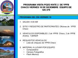 PROGRAMA VISITA POZO KNTE 2 DE YPFB