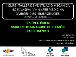 II CURS - TALLER DE VENTILACIÓ MECANICA NO INVASIVA (VMNI)