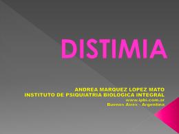 Distimia 2011 - Instituto de Psiquiatría Biológica Integral