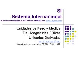 SI Sistema Internacional Boreau International des Poids