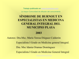 Sindrome de Burnout en especialistas en Medicina General Integral