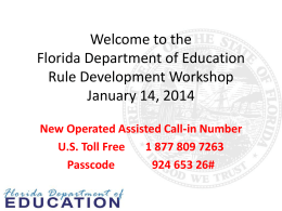 Rule Development Workshop PowerPoint Presentation