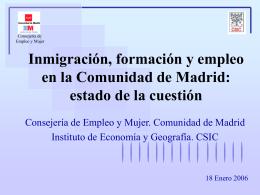 Inmigración, formación y empleo en la Comunidad