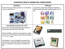 ELEMENTOS PARA EL MANEJO DEL COMPUTADOR