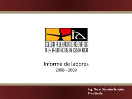 Informe de labores CFIA UPADI - Colegio Federado de Ingenieros y