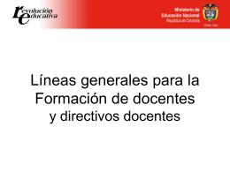 Líneas generales para la Formación Docentes