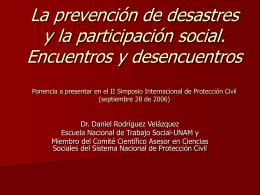 La prevención de desastres y la participación social