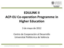 Presentación de la sesión informativa EDULINK II