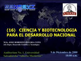 CIENCIA Y BIOTECNOLOGIA PARA EL DESARROLLO NACIONAL