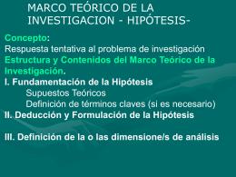 MARCO TEORICO -HIPOTESIS-