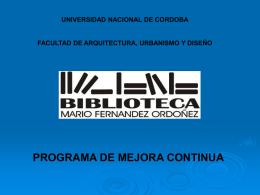 Presentación Biblioteca FAUDI UNC
