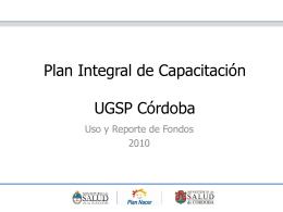 Plan Integral de Control de Gestión UGSP Córdoba