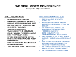 WB XBRL VIDEO CONFERENCE Nelson Carvalho – XBRL II Board