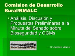 Análisis, discusión y propuestas preliminares a la Minuta