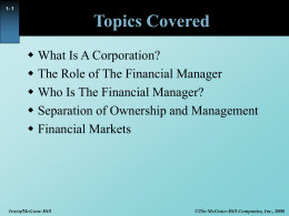 Session 1: Managerial objective/Valuation rules Valuing bonds and