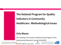 Israel National Program for Quality Indicators in Community