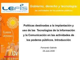 Gobierno, derecho y tecnología: las actividades de los poderes
