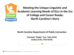 Meeting the Needs of ELLs in CCS Era
