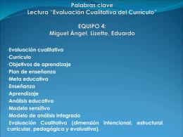 """Palabras clave Lectura """"Evaluación Cualitativa del Currículo"""