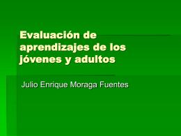 Evaluación de aprendizajes de los jóvenes y adultos