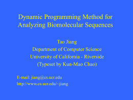Slides on sequence alignment and dynamic programming