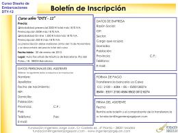 Boletín de inscripción - Fundación Ingeniero Jorge Juan