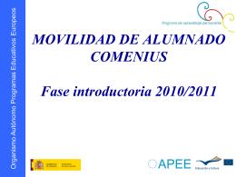 MOVILIDAD DE ALUMNADO COMENIUS Fase