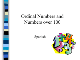 Ordinal Numbers and Numbers over 100