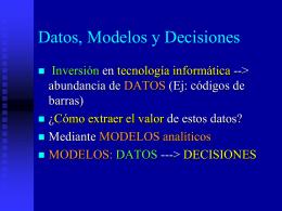 Datos, Modelos y Decisiones