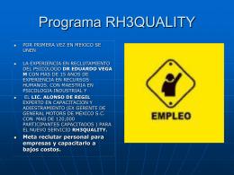 Programa RH3QUALITY - Inicio