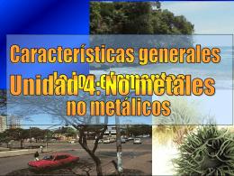 Características Generales de los Elementos No Metálicos