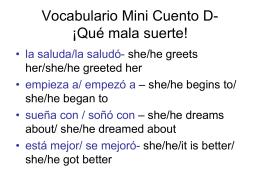 Vocabulario Mini Cuento D- ¡Qué mala suerte!