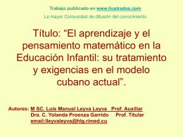 El aprendizaje y el pensamiento matemático en la