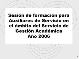 Sesiones formativas auxiliares de servicio 2006