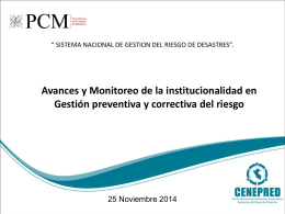 D 12 Avances & Monitoreo Nov 2014