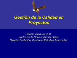 Gestión de la calidad en proyectos - Evolución Centro