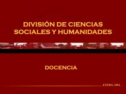 DIVISIÓN DE CIENCIAS SOCIALES Y HUMANIDADES